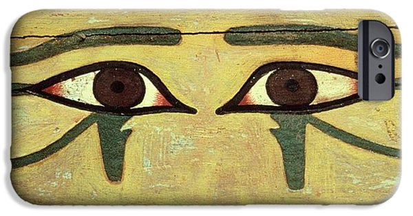Power iPhone Cases - Udjat Eyes On A Coffin, Middle Kingdom Wood & Paint iPhone Case by Egyptian 12th Dynasty