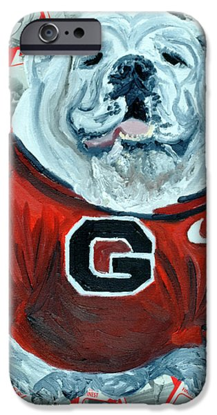 Mascots Mixed Media iPhone Cases - UGA Bulldog II iPhone Case by Michael Lee