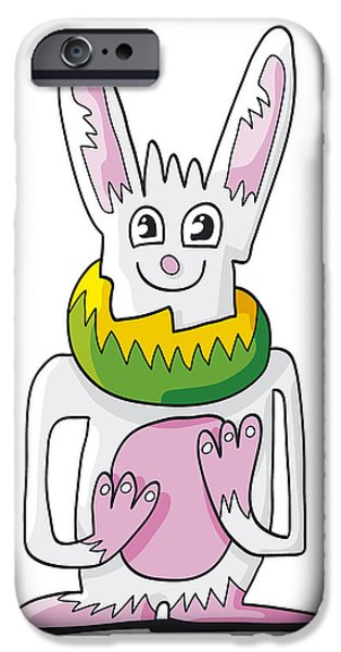 Ramspott iPhone Cases - Ugly Rabbit Doodle Character iPhone Case by Frank Ramspott