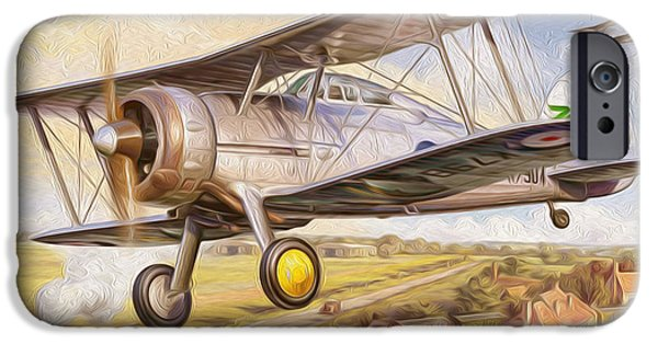 World War One Paintings iPhone Cases - UK fighter biplane iPhone Case by Lanjee Chee