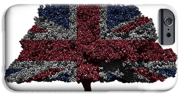 Republican Mixed Media iPhone Cases - UK flag tree iPhone Case by Image World