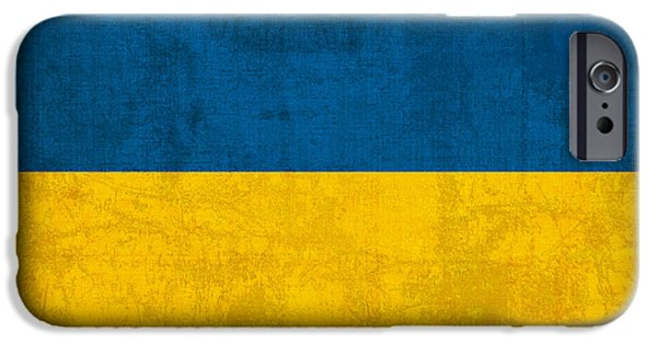 Nation iPhone Cases - Ukraine Flag Vintage Distressed Finish iPhone Case by Design Turnpike