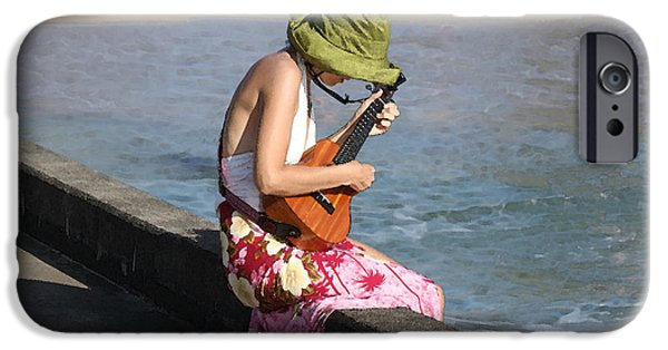 Ukelele iPhone Cases - Ukulele Lady at Hanalei Bay iPhone Case by Catherine Sherman