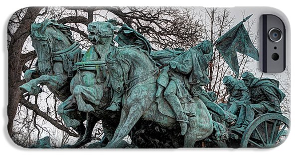 District Columbia Photographs iPhone Cases - Ulysses S. Grant Memorial - Artillery Statue  iPhone Case by Gary Whitton