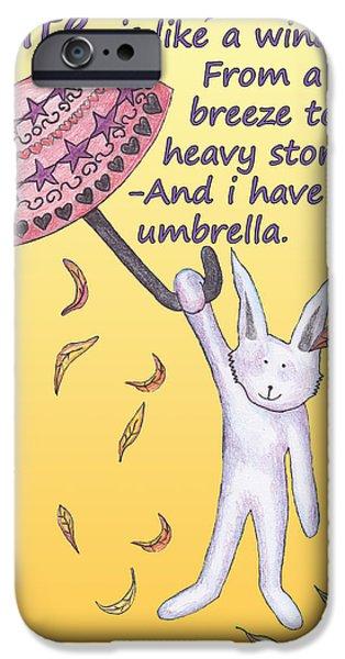 Animal Drawings iPhone Cases - Umbrella and rabitt iPhone Case by Birgitta Serine Kvelland