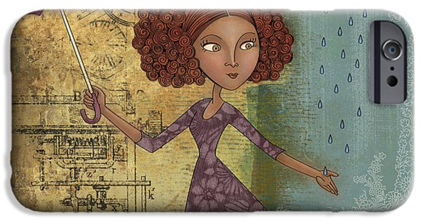 Girl iPhone Cases - Umbrella Girl iPhone Case by Karyn Lewis Bonfiglio
