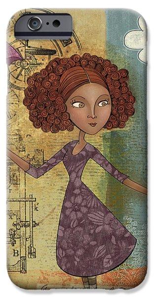 Umbrella Girl iPhone Case by Karyn Lewis Bonfiglio