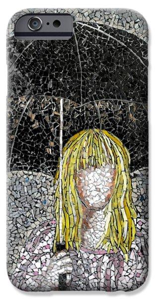 Umbrella Glass Art iPhone Cases - Umbrella  iPhone Case by Monique Sarfity
