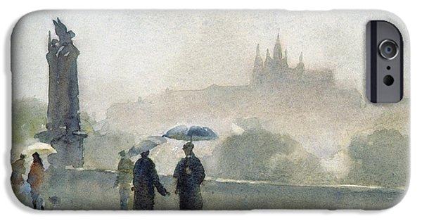 Raining iPhone Cases - Umbrellas, Charles Bridge, Prague Wc On Paper iPhone Case by Trevor Chamberlain