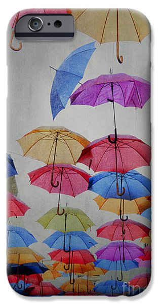 Raining Pyrography iPhone Cases - Umbrellas iPhone Case by Jelena Jovanovic