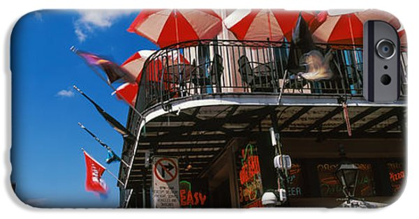 Balcony iPhone Cases - Umbrellas On A Restaurant, Big Easy Off iPhone Case by Panoramic Images