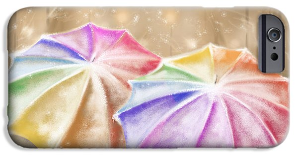 Snowscape iPhone Cases - Umbrellas iPhone Case by Veronica Minozzi