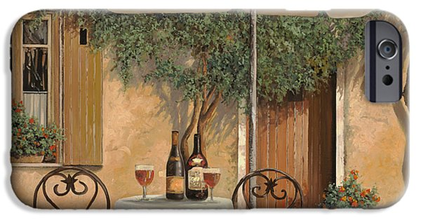 Red Wine iPhone Cases - Un Altro Bicchiere Prima Di Pranzo iPhone Case by Guido Borelli