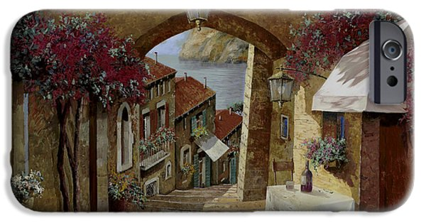 Wine Glasses Paintings iPhone Cases - Un Bicchiere Sotto Il Lampione iPhone Case by Guido Borelli