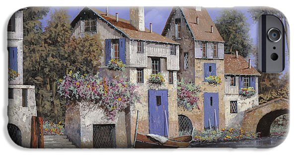 Streams iPhone Cases - Un Borgo Tutto Blu iPhone Case by Guido Borelli