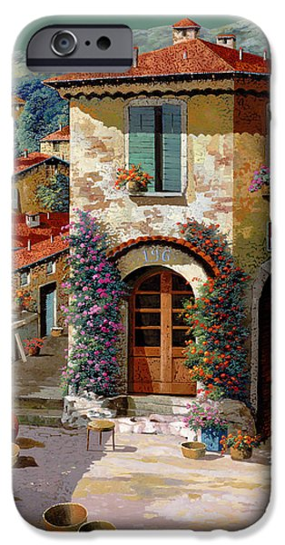 Chair Paintings iPhone Cases - Un Cielo Verdolino iPhone Case by Guido Borelli
