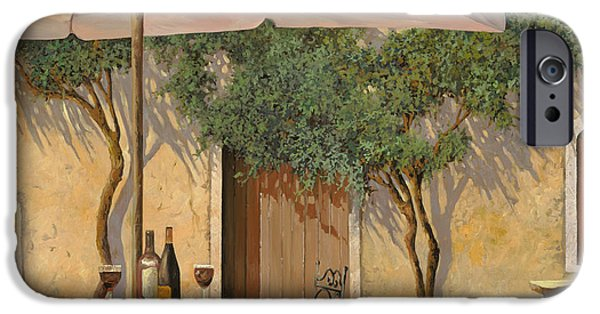 Red Wine iPhone Cases - Un Ombra In Cortile iPhone Case by Guido Borelli