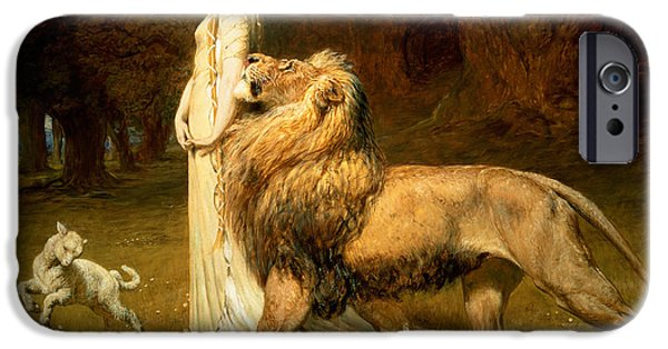Nineteenth Century iPhone Cases - Una and Lion from Spensers Faerie Queene iPhone Case by Briton Riviere