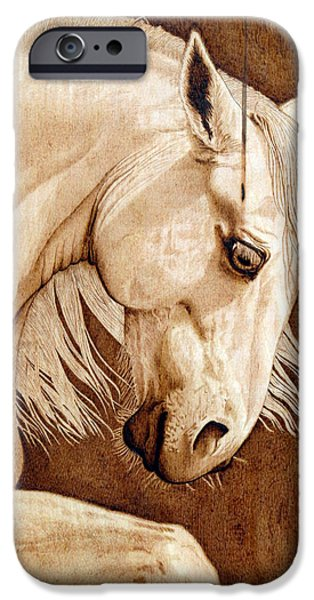 Freedom Pyrography iPhone Cases - Unbridled Heart Vintage iPhone Case by Laurisa Borlovan