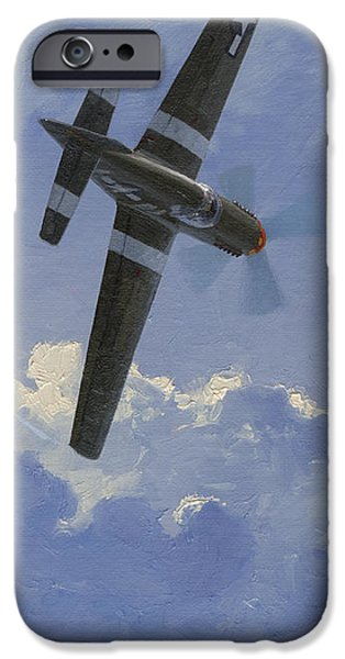 P-51 Mustang iPhone Cases - Unbridled Stallion iPhone Case by Wade Meyers