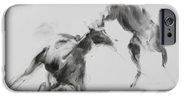 Eerie iPhone Cases - Unbroken Horses iPhone Case by Janet Goddard