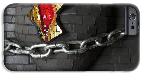 Freedom Glass Art iPhone Cases - Unchain My Heart iPhone Case by Julie Mazzoni