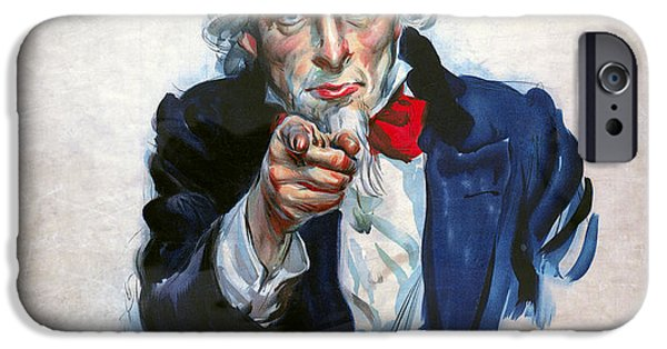 World War One Digital Art iPhone Cases - Uncle Sam Wants You iPhone Case by Daniel Hagerman