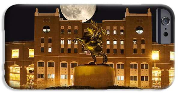 Florida Pyrography iPhone Cases - Unconquered Doak Campbell Full Moon iPhone Case by Frank Feliciano