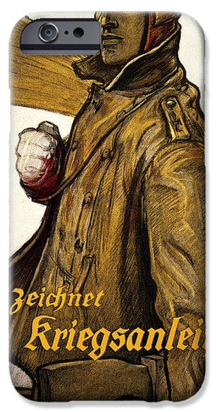 Wwi Drawings iPhone Cases - Und Ihr iPhone Case by Fritz Erler