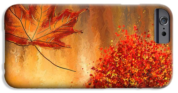 Red And Yellow iPhone Cases - Undeniably autumn- Autumn Impressionist Painting iPhone Case by Lourry Legarde