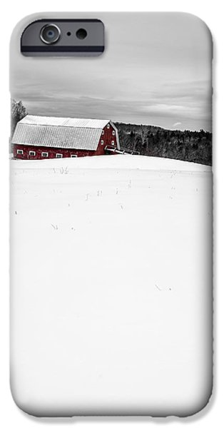 New England Snow Scene iPhone Cases - Under a blanket of snow Christmas on the farm iPhone Case by Edward Fielding