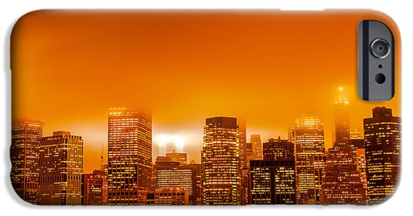Twin Towers Nyc iPhone Cases - Under a Blood Red Sky part one iPhone Case by Alex Hiemstra