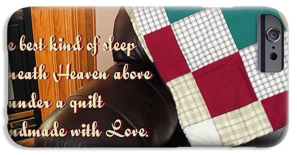 Quilts For Sale iPhone Cases - Under a Quilt Handmade with Love iPhone Case by Barbara Griffin