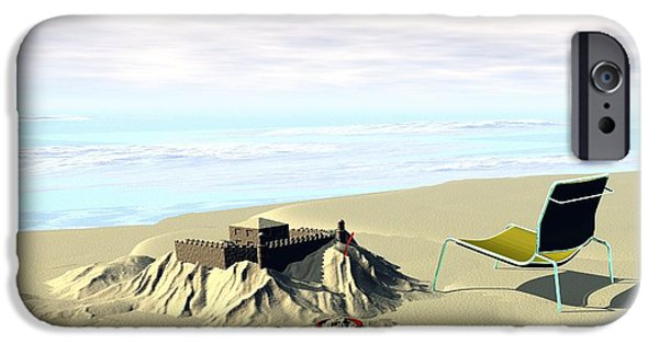 Sand Castles Digital Art iPhone Cases - Under Construction iPhone Case by John Pangia