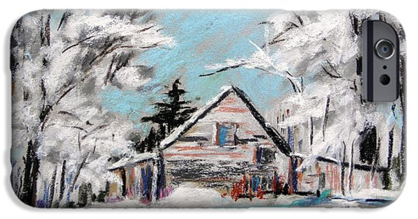 Old Barns Pastels iPhone Cases - Under Frosted Trees iPhone Case by John  Williams