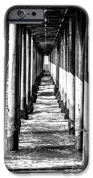 Pillars iPhone Cases - Under Huntington Beach Pier Black and White Picture iPhone Case by Paul Velgos