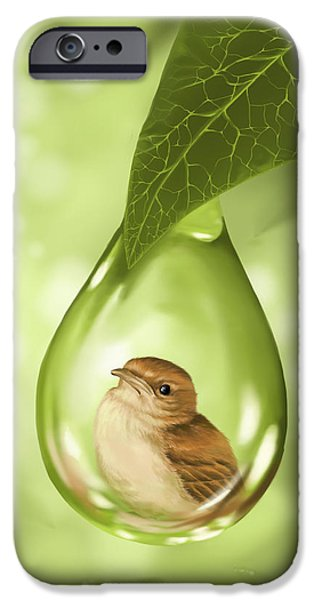 Cute Bird iPhone Cases - Under protection iPhone Case by Veronica Minozzi