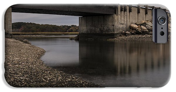 Salt Marsh. New England iPhone Cases - Under Seapowet Bridge iPhone Case by Andrew Pacheco