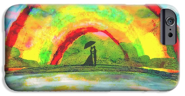 Rainy Day Mixed Media iPhone Cases - Under The Archway iPhone Case by Melissa Osborne