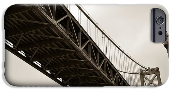 Oakland Bay Bridge iPhone Cases - Under the Bay Bridge iPhone Case by Michelle Calkins