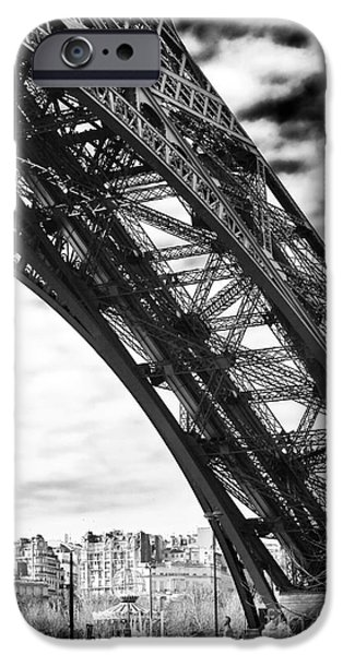 Cultural Icon iPhone Cases - Under the Eiffel tower iPhone Case by John Rizzuto