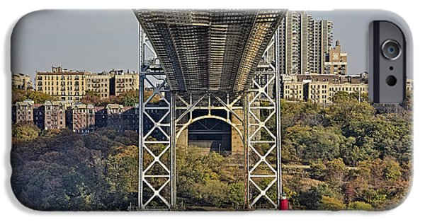 Maritime iPhone Cases - Under The George Washington Bridge III iPhone Case by Susan Candelario