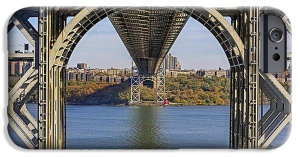 Hudson River iPhone Cases - Under The George Washington Bridge iPhone Case by Susan Candelario