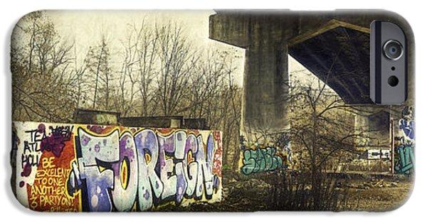 Graffito iPhone Cases - Under the Locust Street Bridge iPhone Case by Scott Norris