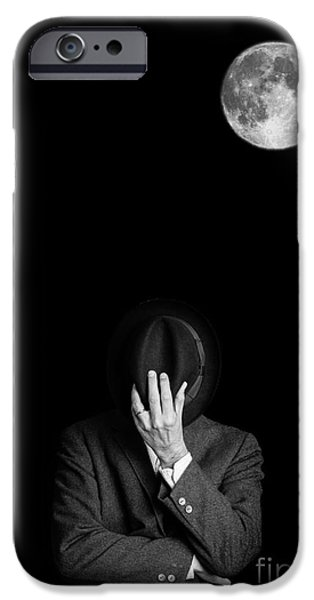 Hiding Photographs iPhone Cases - Under the moonlight the serious moonlight iPhone Case by Edward Fielding