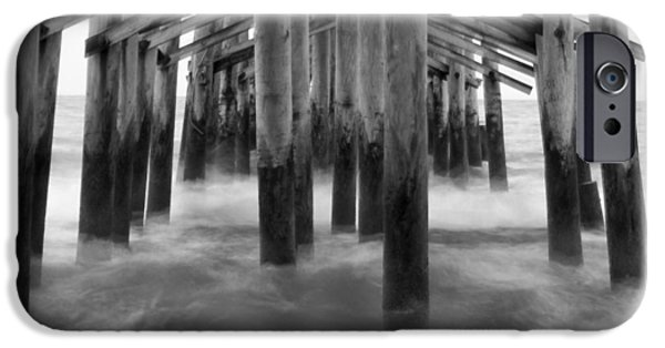 Pier Digital Art iPhone Cases - Under the Pier at Kure Beach iPhone Case by Mike McGlothlen