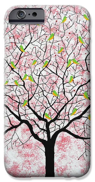Tree Roots Paintings iPhone Cases - Under the pink sky iPhone Case by Sumit Mehndiratta