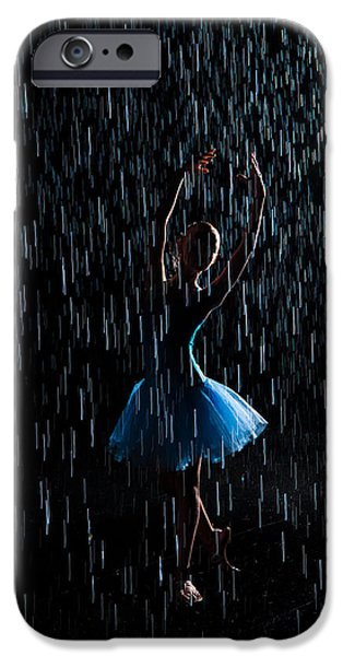 Dancer iPhone Cases - Under the rain iPhone Case by Zina Zinchik