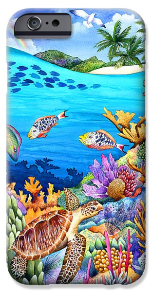 Sea Animals iPhone Cases - Under The Rainbow iPhone Case by Carolyn Steele