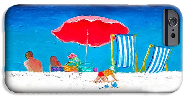 House Art iPhone Cases - Under the Red Umbrella iPhone Case by Jan Matson
